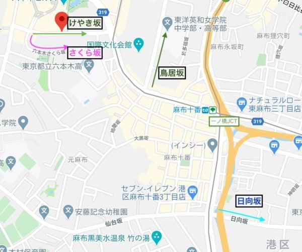 地図,欅坂46,けやき坂,日向坂,鳥居坂,さくら坂
