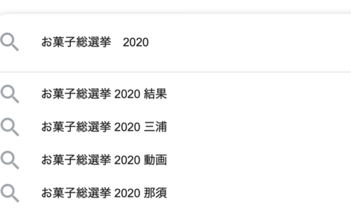Google検索,お菓子総選挙2020,三浦春馬,那須
