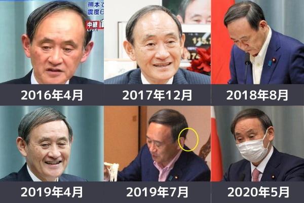 菅官房長官,髪型